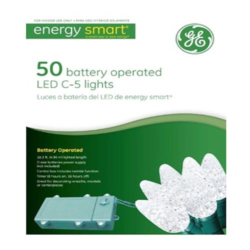 GE 50 Light Warm White LED C5 Battery Operated Lights