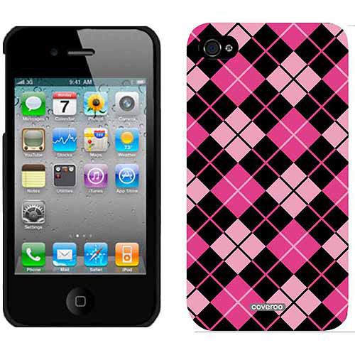 Argyle Pretty in Pink Design on Apple iPhone 4/4s Thinshield Snap-On Case by Coveroo