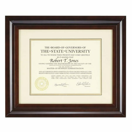 12x15 Walnut Archival Document Frame With White Mat For 8.5x11 (12x15 Framed)