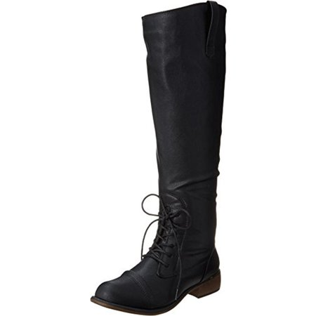 - Dirty Laundry Womens Camp Fire Faux Leather Combat Knee-High Boots