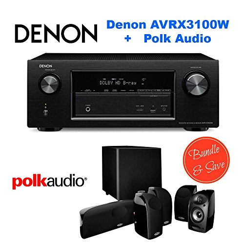 Denon AVR-X3100W 7.2 Channel Full 4K Ultra HD A V Receiver with Bluetooth and Wi-Fi + Polk Audio 5.1 TL1600 Speaker by Electronics Expo