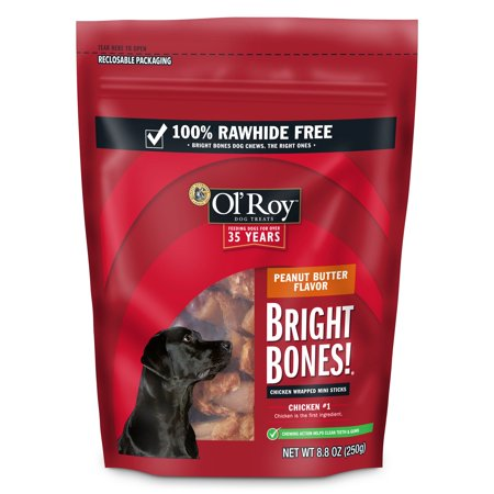 Ol' Roy Bright Bones, Chicken Wrapped Mini Stick Dog Treats, Peanut Butter Flavor, 8.8 -