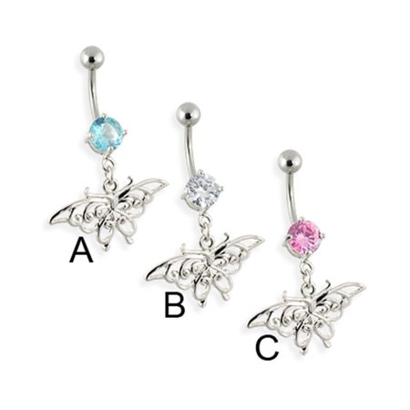 Mspiercing Belly Ring With Dangling Vintage Butterfly Aquamarine Walmart Com