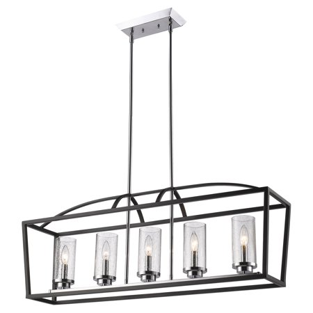 Golden Lighting 4309-LP-SD Mercer 5 Light Linear Chandelier with Seedy Glass Sha ()