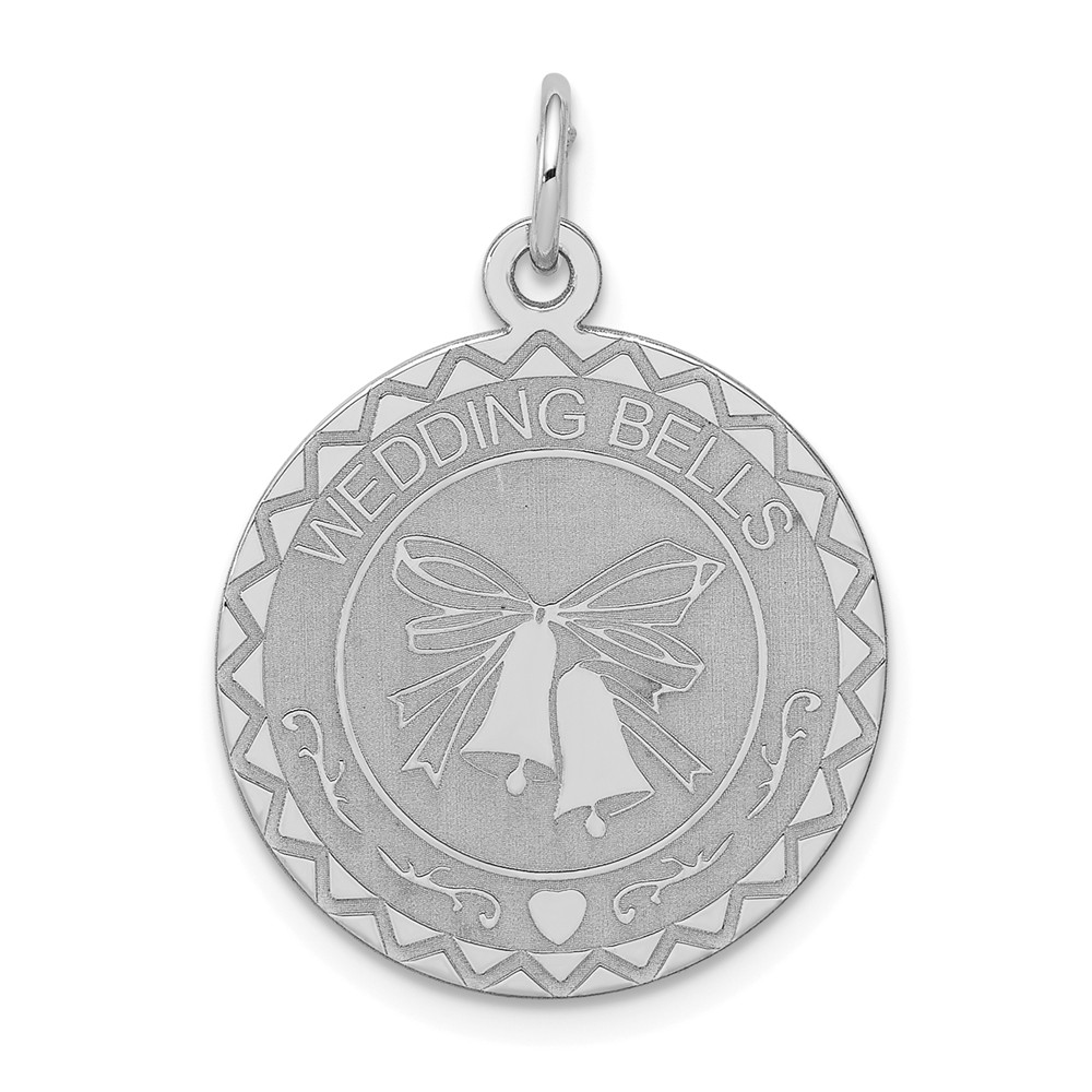 Sterling Silver Engravable Wedding Bells Disc Charm (1.1in long x 0.8in wide)