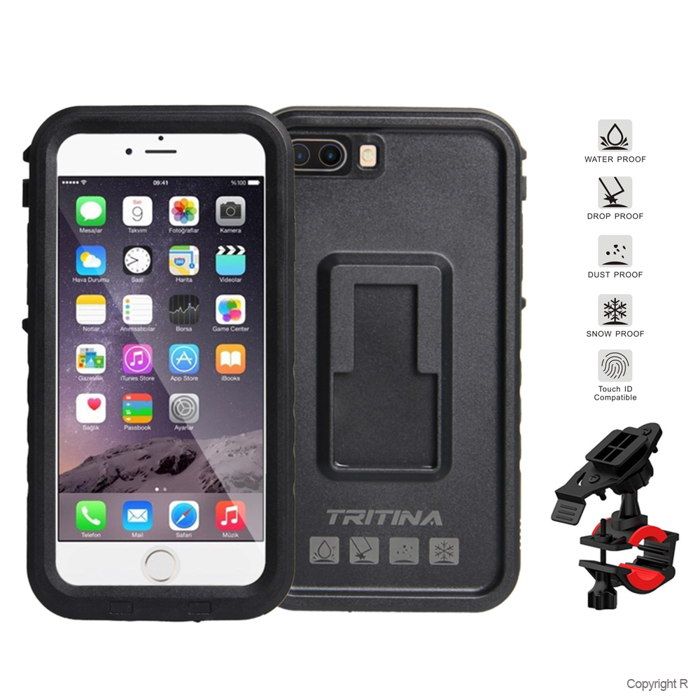 new style 64553 69a33 Tritina Bike Mount + Waterproof Case for iPhone 7 Plus, Shockproof  Smartphone Case Hold on Motorcycle, Bicycle IP68 (Black)