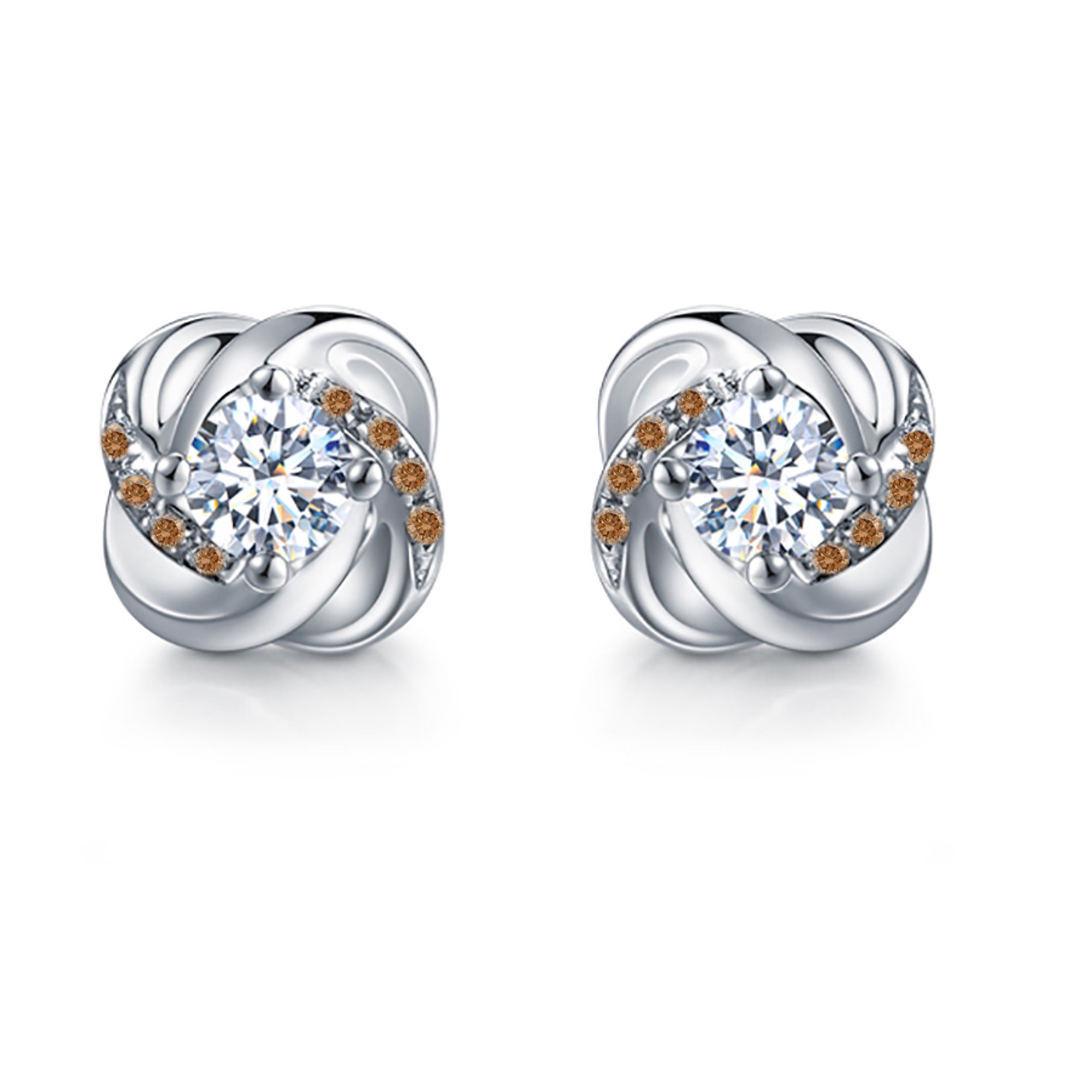 50 Carat Round Brilliant White And Brown Diamond Knot Stud Earrings In 10k White Gold Walmart Canada