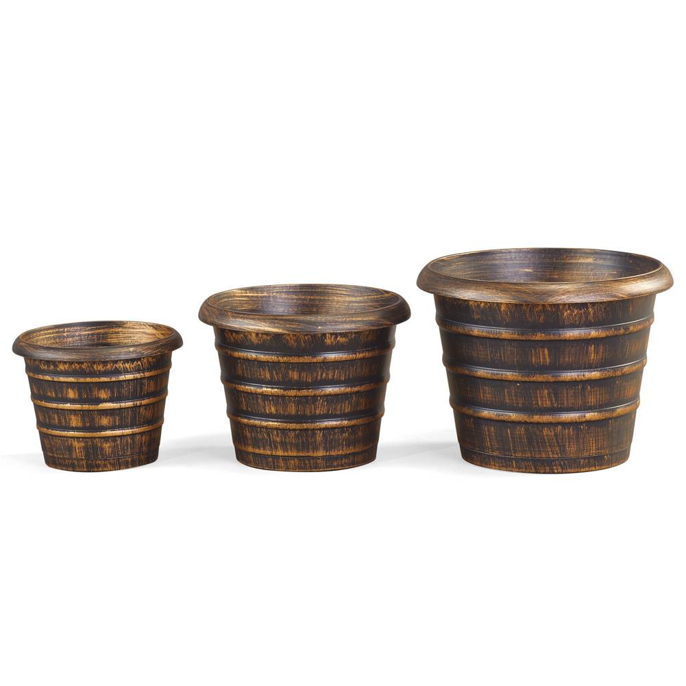 Rustic Planter Barrels - Set of 3, Use for Flowers or Vegetables with Hole for Proper Drainage