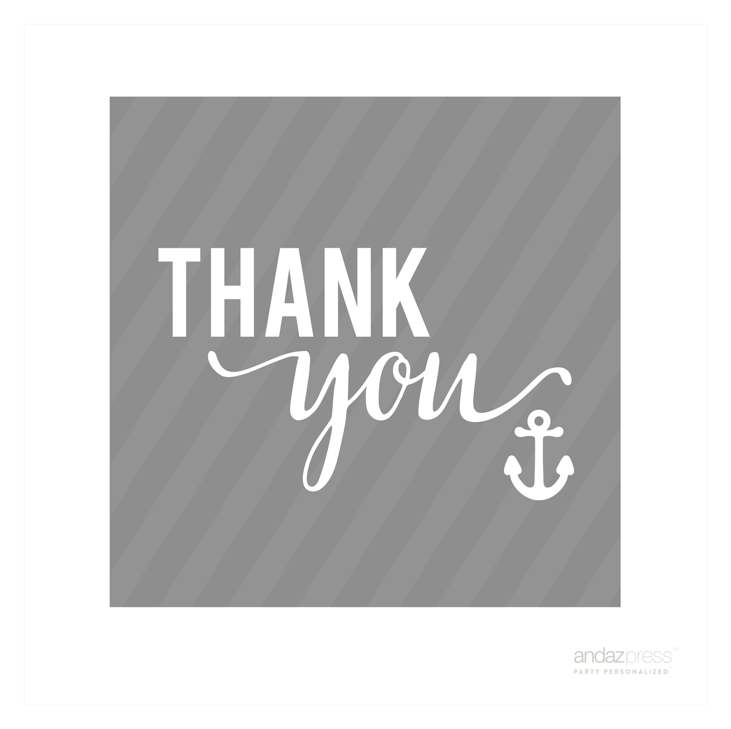 Sail Away Nautical Birthday Thank You Anchor Square Gift Tags, 24-Pack