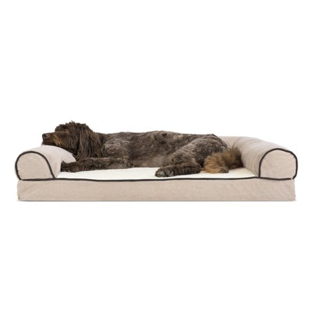 Chenille Suede - Large Faux Fleece & Chenille Soft Woven Memory Top Sofa Pet Bed - Cream