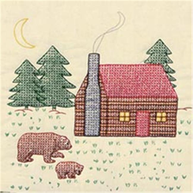 318506 Stamped Ecru Quilt Blocks 18 in. x 18 in. 6-Pkg-Cabin & Bears