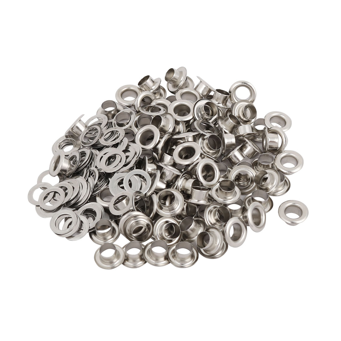 100pcs 4.5mm Iron Eyelet Grommets Silver Tone w Washers for Clothes Leather - image 3 de 3