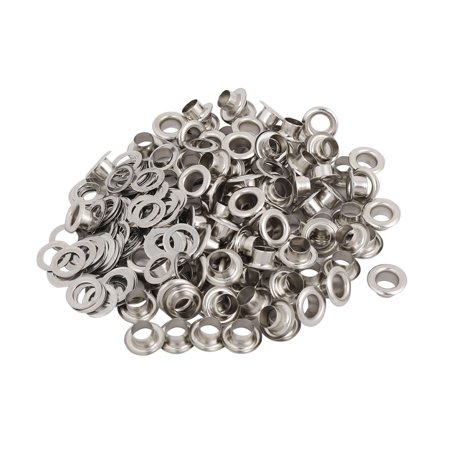 Unique Bargains 100pcs 4.5mm Iron Eyelet Grommets Silver Tone w Washers for Clothes Leather - Eyelets For Paper