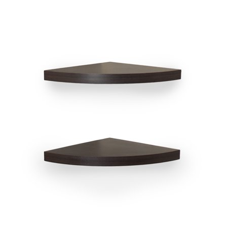 Danya B. Walnut Laminate Corner Radial Shelves (Set of (Danya B Two Tier Industrial Pipe Wall Shelf)
