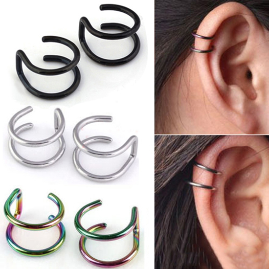 1pair Stainless Steel Clip on Non-pierced Hoops Piercing Fake Nose Lip Ear Rings