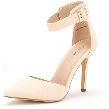 Dream Pairs Women's Ankle Strap Stilettos Pointed Toe High Heel Pumps Shoes Oppointed-Ankle Nude/Nubuck Size 11