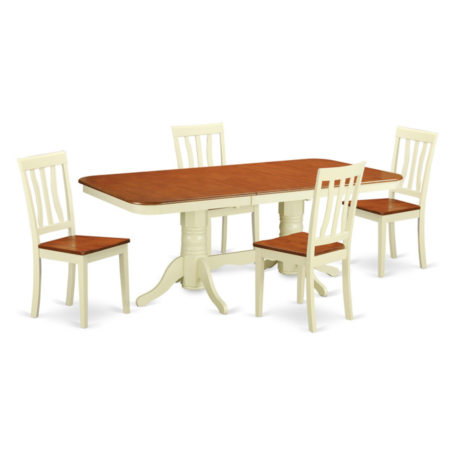East West Furniture Napoleon 5 Piece Trestle Dining Table Set with Antique Wooden Chairs
