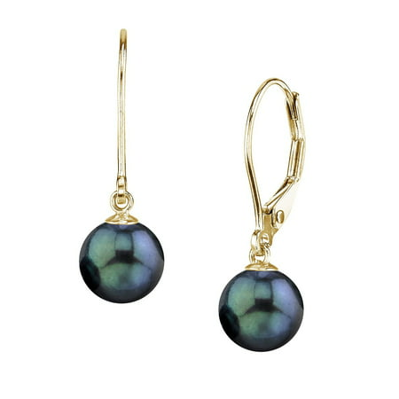 Aaa Akoya Pearl Earring (14K Gold Round Black Akoya High Luster Cultured Pearl Leverback Earrings - AAA Quality)