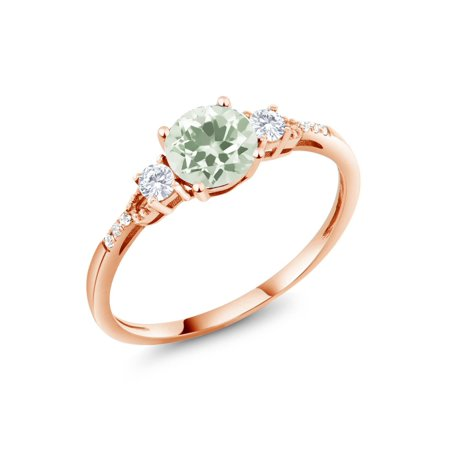 1.09 Ct Round Green Prasiolite White Created Sapphire 10K Rose Gold Ring