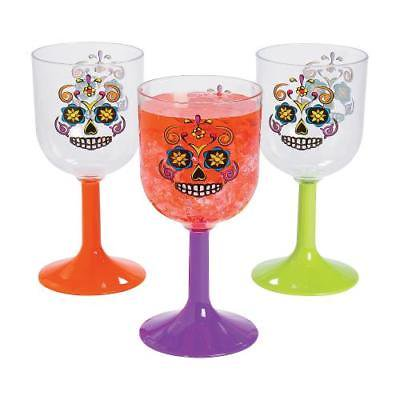 IN-13708674 Sugar Skulls Wine Glasses 6 Piece(s) - Sugar Skull Wine Glass