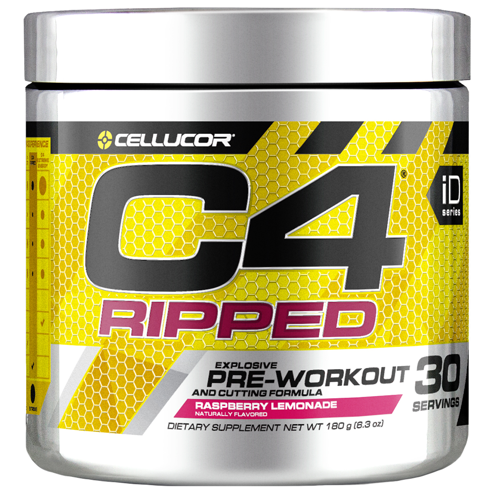 Cellucor C4 Ripped Pre Workout Powder, Raspberry Lemonade, 30 Servings