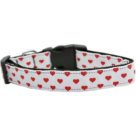 Mirage Pet Products 125-163 MD White and Red Dotty Hearts Nylon Dog Collars Medium Heart Dog Pet Collar Charm