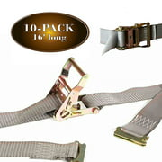 """10 E Track Ratchet Straps, 2"""" x 16' Durable Ratcheting Strap Cargo TieDowns, Heavy Duty Yellow Polyester Tie-Downs, ETrack Spring Fittings, Tie Down Motorcycles, Trailer Loads, by DC Cargo Mall"""