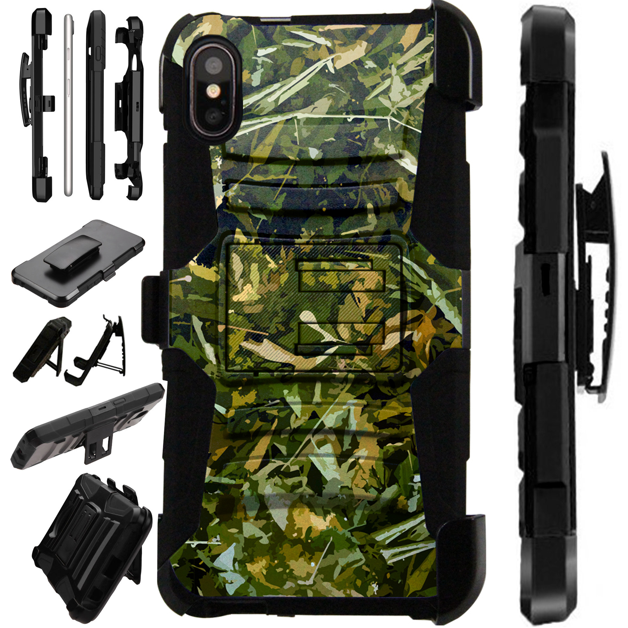 """Compatible With Apple iPhone XS Max 6.5"""" Case Armor Hybrid Silicone Cover Stand LuxGuard Holster (Camo Foliage Green)"""