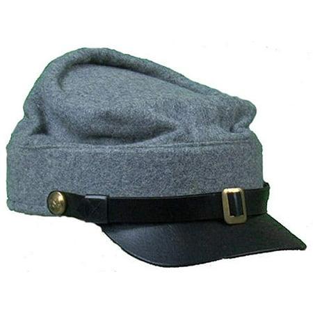 Reproduction Civil War Kepi Cap for Reenactors - GREY - SMALL (7)