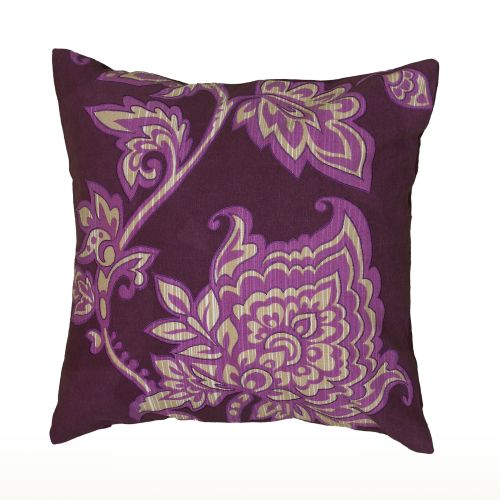 """Rizzy Home Decorative Poly Filled Throw Pillow Floral 18""""X18"""" Purple"""