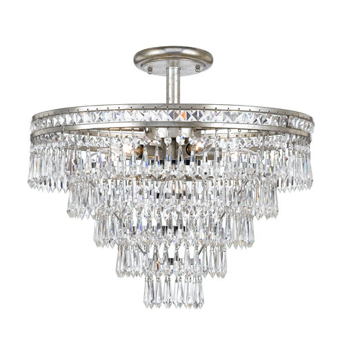 Crystorama 5264-EB-CL-MWP_CEILING Six Light Semi-Flush by Crystorama
