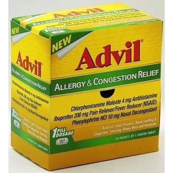 Advil Allergy & Congestion Relief Antihistamine, Pain Reliever/Fever Reducer & Decongestant, Coated Tablets (50- Pouches)