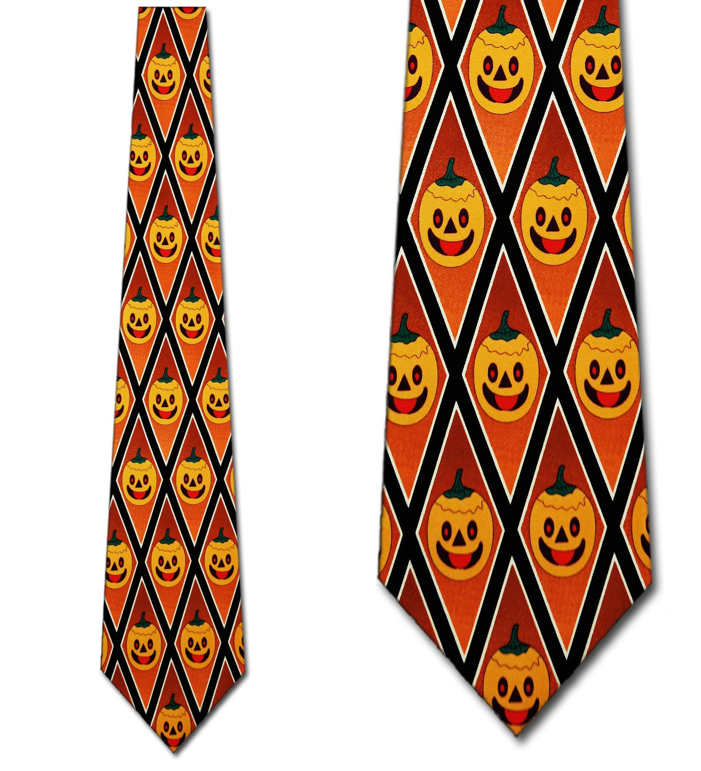 Jack-O-Lanterns Diamonds Necktie Halloween Mens Ti