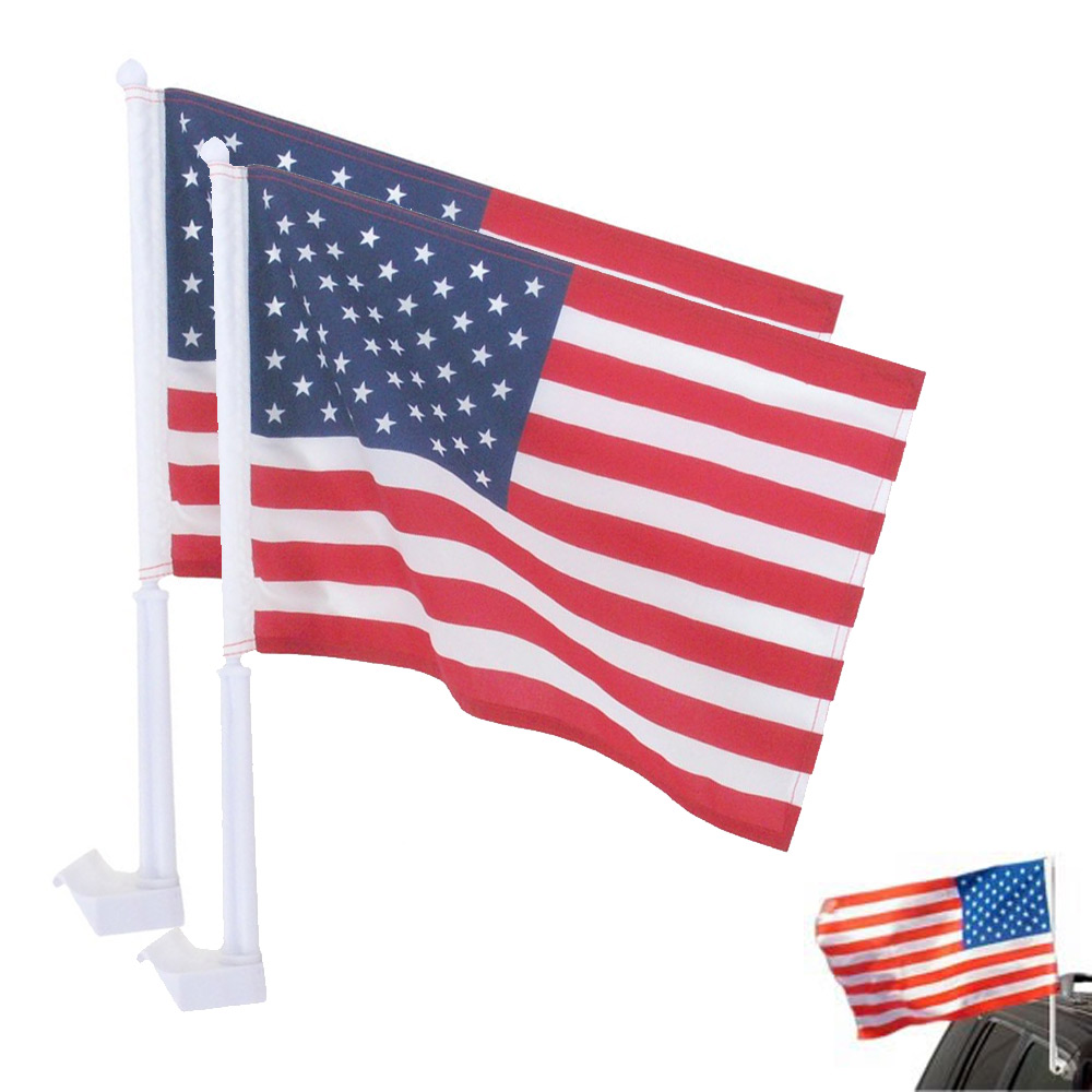 "2 United States American Flag Patriotic Car Window Clip on USA Flag 20"" x 12"""