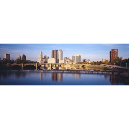 Bridge across a river Scioto River Columbus Ohio USA Canvas Art - Panoramic Images (18 x 6) - Halloween Usa Columbus Ohio