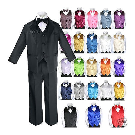 14 Color 7pcs Baby Boy Formal Wedding Black Suits Tuxedo Extra Vest Bow Tie S-20