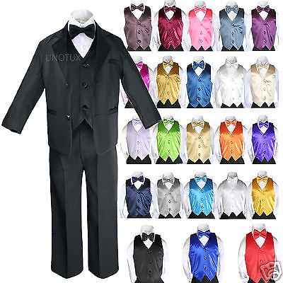 14 Color 7pcs Baby Boy Formal Wedding Black Suits Tuxedo Extra Vest Bow Tie - Boys Tuxedo