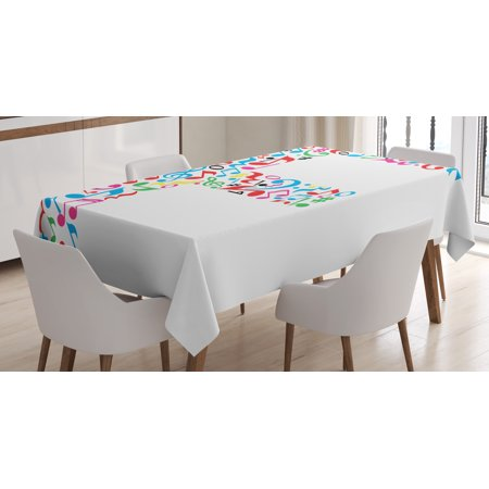 Letter F Tablecloth  Letter F Alphabet With Vibrant Music Notes Harmony Song Design Abc Graphic Print  Rectangular Table Cover For Dining Room Kitchen  52 X 70 Inches  Multicolor  By Ambesonne