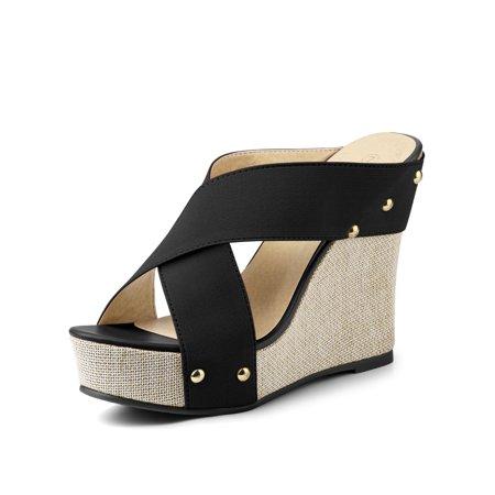 Women's Open Toe Linen Platform Slide Wedge Sandals Black (Size 6)