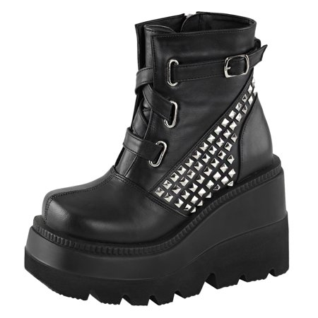 Womens Wedge Ankle Boots Black Shoes Pyramid Studded Booties 4 1/2 In Platform