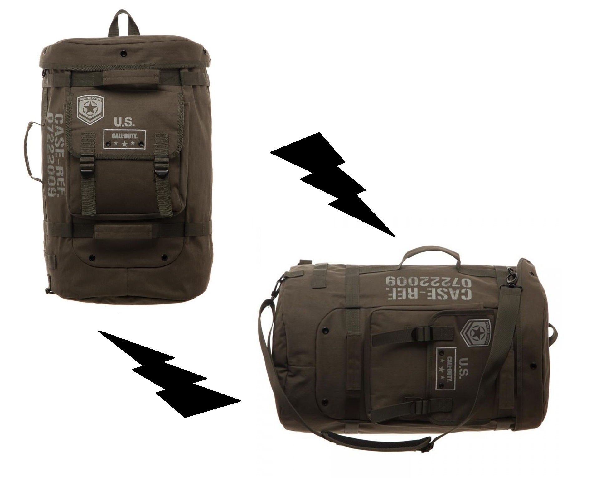 Call of Duty WW2 Licensed Convertible Military Backpack Messenger ... cac74a0380a