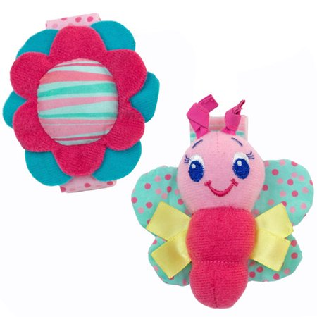 Bright Starts Pretty in Pink Rattle, Me Bracelets - Bright Starts Pretty In Pink