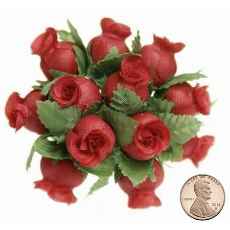 144 Miniature Poly Rose Silk Favor Flower Pick Wedding Shower Red