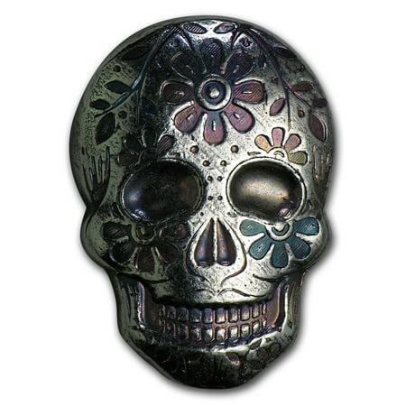 2 oz Silver Skull - Monarch Precious Metals (Day of the Dead)