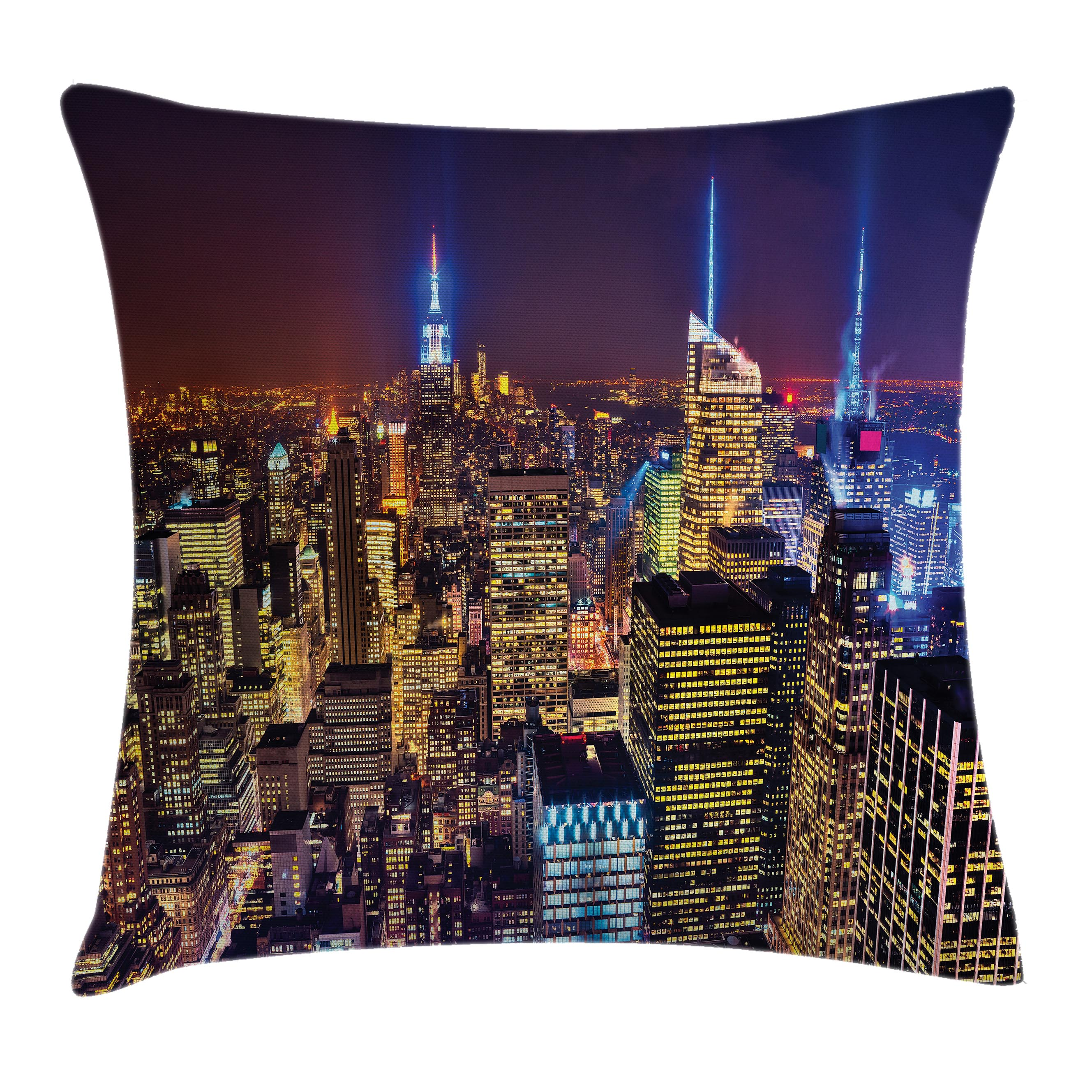 New York Throw Pillow Cushion Cover, Aerial Cityscape Landmark Fourth of July Independence Penthouse Modern Art Image, Decorative Square Accent Pillow Case, 16 X 16 Inches, Purple Gold, by Ambesonne