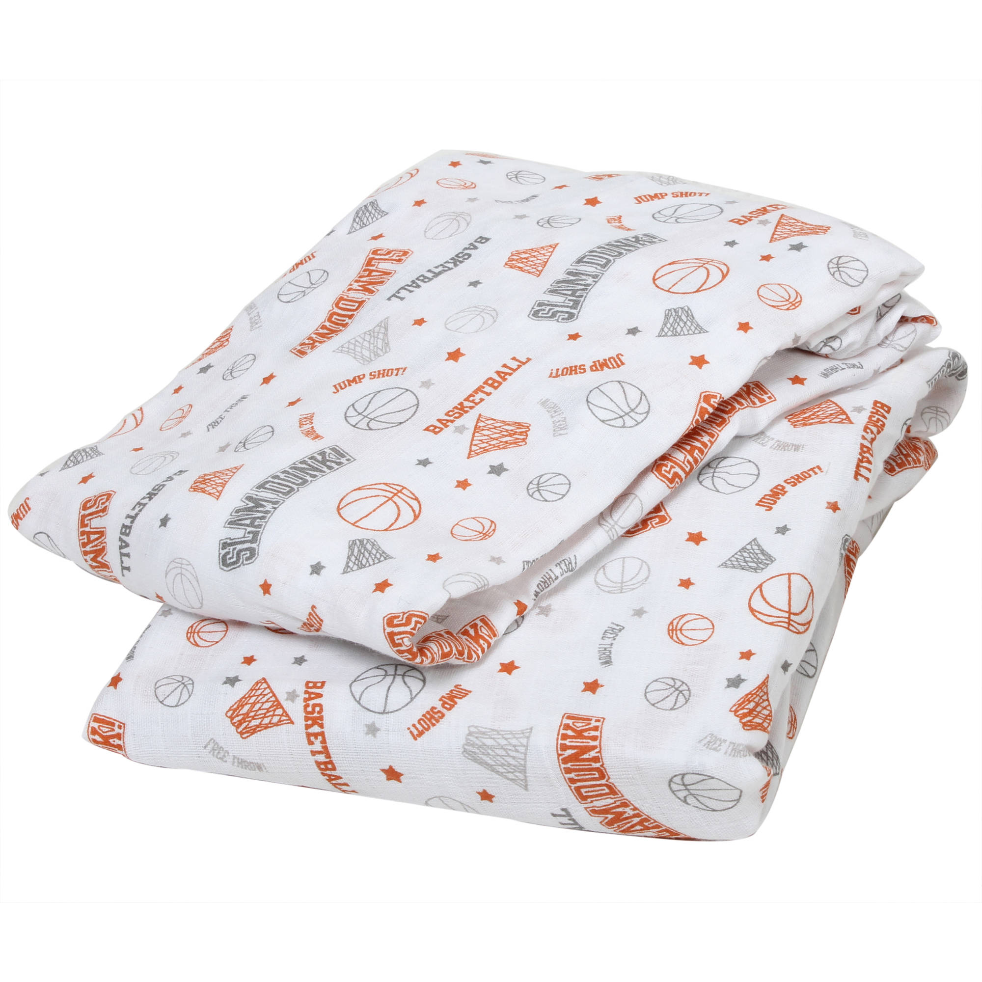 Bacati - Sports Crib/Toddler Bed Fitted Sheets 100% Cotton Muslin 2 Pack, Basketball Orange/Grey