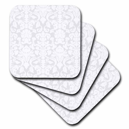 3dRose Grey Silver and white French Floral Fancy Damask Pattern - Classic Classy Elegant and Stylish Gray, Soft Coasters, set of 4