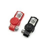 2Pcs Black Red Car Adjustable Battery Terminal Clamp Clip Positive Negative