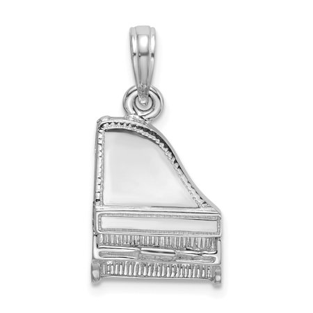 14K White Gold Solid WHITE 3-D GRAND PIANO MOVEABLE Charm Pendant