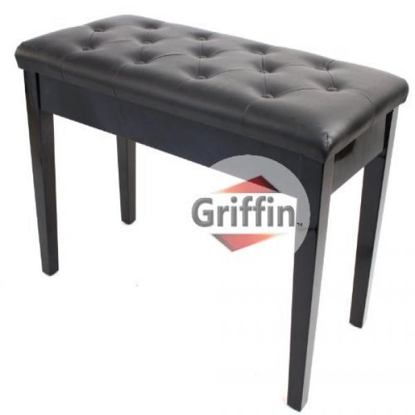 Captivating Ebony Black Leather Piano Bench Wood Double Duet Keyboard Seat With Storage  Griffin Pictures
